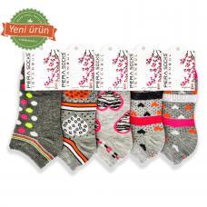 Bayan Desenli Patik Çorap (12 Çift)