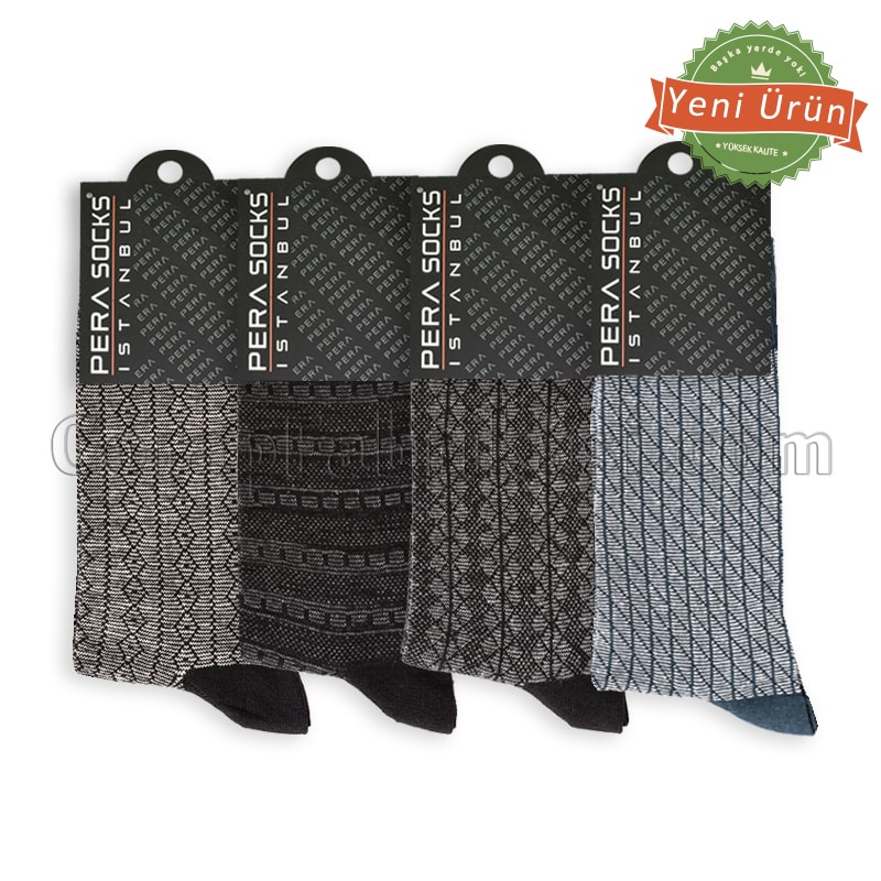 Erkek Lux Jakarlı Çorap (12 Çift)