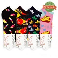 Erkek-Bayan Neşeli Patik Çorap (12 Çift)
