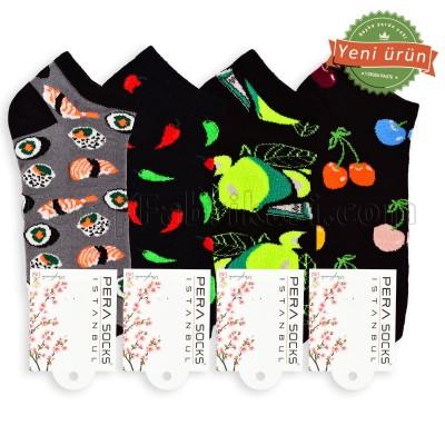 Unisex Neşeli Patik Çorap (12 Çift)