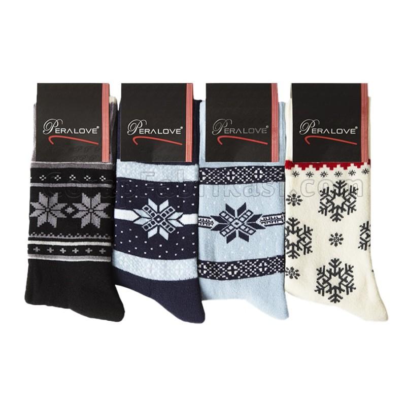 Dikişsiz Yılbaşı Havlu Çorap (12 Çift)